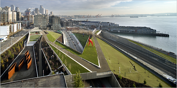 Think Olympic Sculpture Park in Seattle.